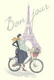 Fashion girl on the bike. Hand drawn illustration Background with model and Eiffel Tower Royalty Free Stock Photo