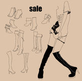 Fashion girl and boots Stock Images