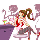 Fashion girl bored in night club illustration. Illustration of beautiful fashionable girl sit and drink in pub. she is boring with her life and gossiping friends Royalty Free Stock Images