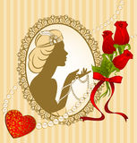 Fashion girl with breads and flowers. Vintage fashion girl with breads and flowers Royalty Free Stock Photography