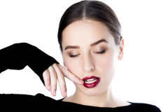 Fashion girl with bright lipstick with eyes closed Royalty Free Stock Photos