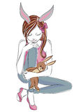 Fashion girl with  bunny toys. Hand drawn illustration Background with model Royalty Free Stock Images
