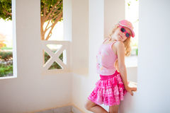 Fashion Girl By The Wall Stock Images