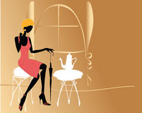 Fashion girl in the cafe vector illustration