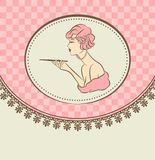 Fashion girl with cannon-bit. Vintage fashion girl with cannon-bit Stock Photo