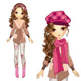 Fashion Girl In Cap And Coat Royalty Free Stock Photography