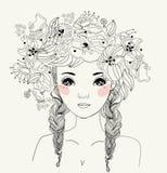Fashion girl. A fashion girl ,cartoon art stock illustration