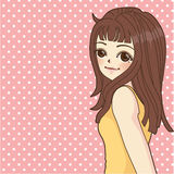 Fashion Girl in Cartoon Style. Vector File EPS10 Stock Image
