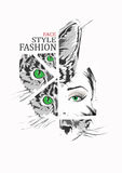 Fashion girl and cat in sketch-style Royalty Free Stock Photos