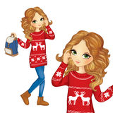 Fashion Girl In Christmas Sweater Stock Photo