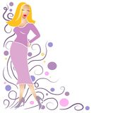 Fashion Girl Clip Art Blonde. An illustration clip art of a blonde fashion model girl posing in a colorful skirt and top against a swirling decorative background Stock Photos