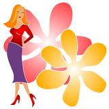Fashion Girl Clip Art Flowers stock photography