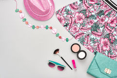 Fashion girl clothes accessories set. Street style Stock Photos