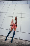 Fashion girl in clothes from 90`s Stock Image