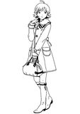 Fashion girl in coat and bag. Illustration,black and white,art,outline Royalty Free Stock Images
