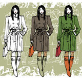 Fashion girl in coat.Grunge background.Sketch Stock Photo
