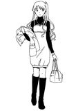 Fashion girl with a coat and a handbag. Illustration,black and white,art,outline Stock Photo