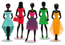 Fashion girl in Colored party dresses.Sale poster Royalty Free Stock Images