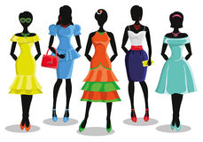 Fashion girl in Colored party dresses.Sale poster Royalty Free Stock Photos