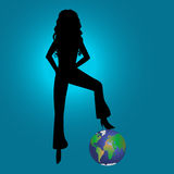 Fashion girl contour & world. Contour of Fashion girl with leg over the world Royalty Free Stock Images