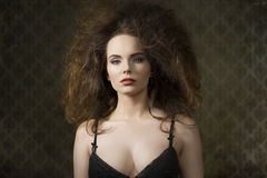 Fashion girl with crazy hairdo Royalty Free Stock Photos