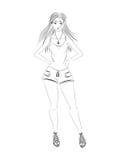 fashion girl Czarny i biały nakreślenie Zdjęcie Stock