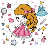 Fashion girl design elements. Royalty Free Stock Photos