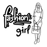 Fashion girl draw Stock Image
