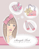 Fashion girl dreaming about bags and shoes. Royalty Free Stock Image