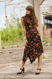 Fashion girl in dress with flowers Royalty Free Stock Photo