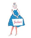 Fashion girl in dress, retro style Stock Photo