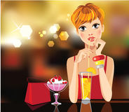 Fashion girl drink of cocktail in bar, beauty face, face girl, pretty woman, drinking beverages. Vector illustration of dreamy fashion girl drink of cocktail in Royalty Free Stock Images