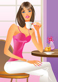Fashion girl drinking a coffee Royalty Free Stock Image