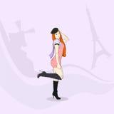 Fashion Girl Elegant Dress Hat Eiffel Tower Paris Stock Image