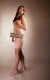 Fashion girl with elegant handbag bag Royalty Free Stock Images