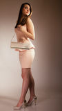 Fashion girl with elegant handbag bag Stock Photos