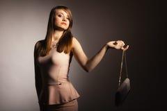Fashion girl with elegant handbag bag Stock Images
