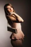 Fashion girl with elegant handbag bag Stock Image
