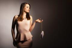 Fashion girl with elegant handbag bag Royalty Free Stock Photo