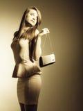 Fashion girl with elegant handbag bag Stock Photo