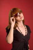 Fashion girl in eyeglasses Stock Photos