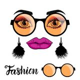 Fashion girl face with make up and trend orange yellow round sunglasses. Vector illustration Fashion girl face with make up and trend orange yellow round vector illustration