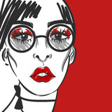 Fashion girl face portrait with red lips and sunglasses Royalty Free Stock Images