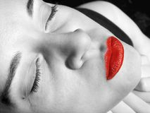 Fashion girl face - red mouth royalty free stock images