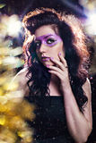 Fashion girl with fantasy glitter make-up Stock Photos