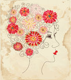 Fashion girl floral head on the paper Royalty Free Stock Photography
