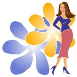 Fashion Girl With Flowers. An illustration clip art of a brunette fashion model girl posing in a colorful skirt and top against a flower design background on Stock Photos