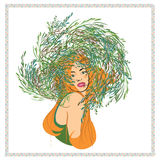 Fashion girl with flowers. Ginger. Redhead. T-shirt design. Royalty Free Stock Image