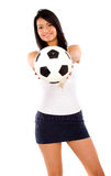 Fashion girl with a foot ball Royalty Free Stock Image