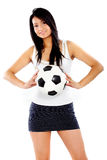 Fashion girl with a football Stock Images